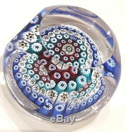 Whitefriars Millefiori Paperweight Concentric Faceted 1978 Signed Monk Date Cane