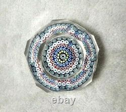 Whitefriars Millefiori Paperweight, Dated 1975. Large Facet Cut Lead Crystal P10